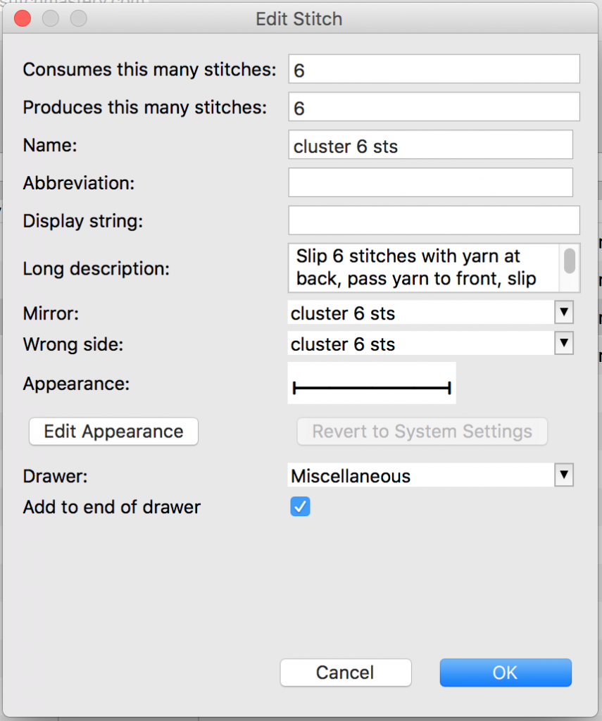 screenshot of stitch editing dialogue box