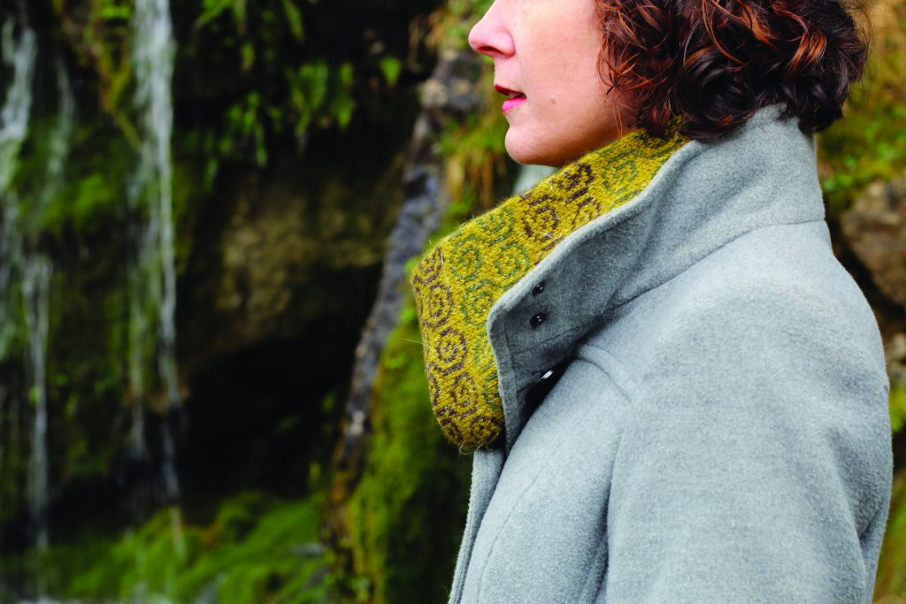 Photo of Carol Feller wearing colourwork cowl