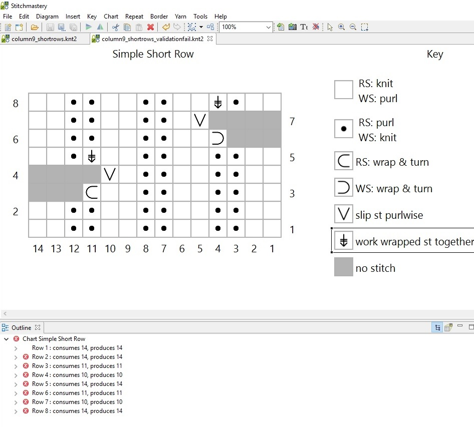 Screenshot of Stitchmastery in action with failure in the validation area