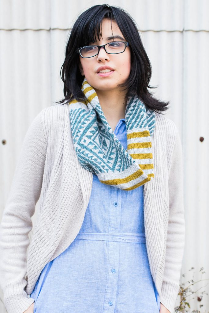Francoise Danoy wearing her Taimana Cowl
