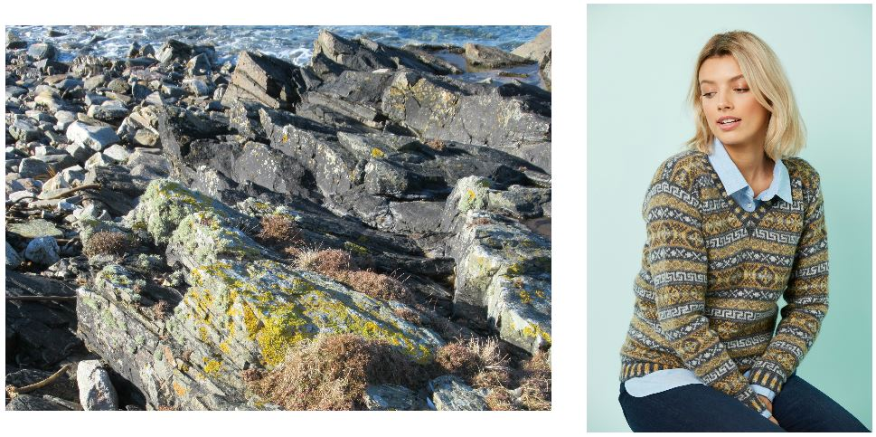 Two photos side by side - one of moss-covered rockes next to the sea, and one of a woman wearing Claire Neicho's design Rocky Shores, an all-over Fair Isle jumper. She is sitting in front of a pale blue background.