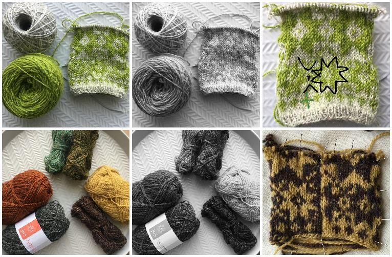 Collage of photos. Top row shows a ball of green and ball of grey yarn, then the same shot in black and white, and a shot showing a knitted swatch in these colours with small, medium & large motifs. The bottom row first photo shows 3 sets of contasting balls of yarn, then the same photo in black and white showing the similarities in hue, and finally a swatch similar to the one above but in yellow & purple yarn - the motifs are much clearer.