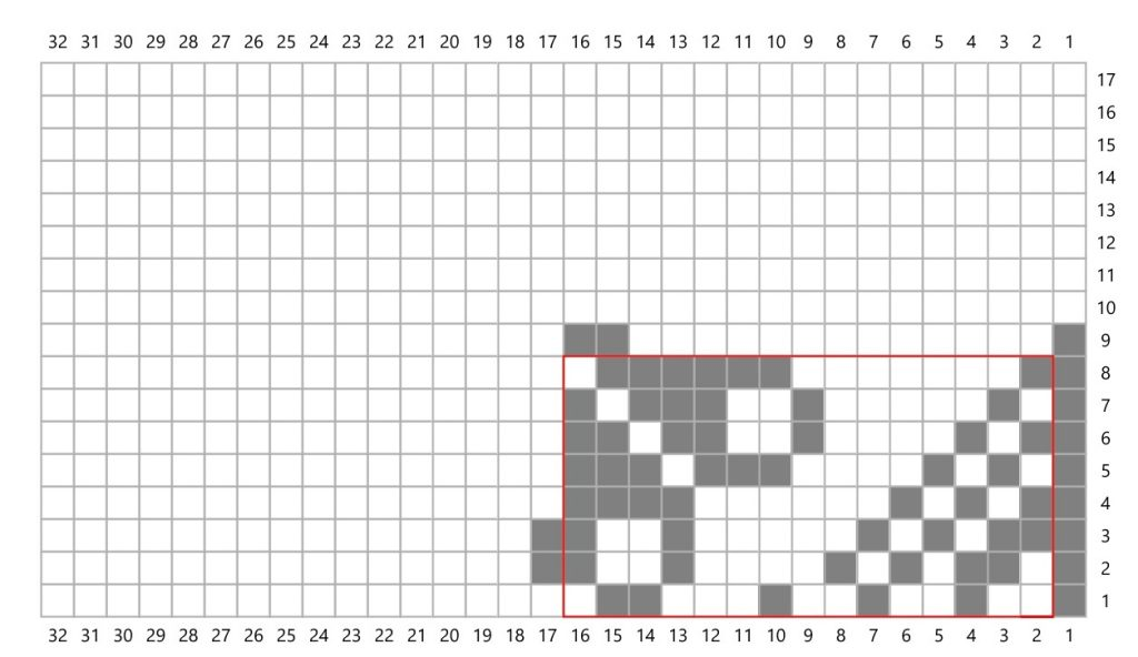 A knitting chart with grey stitches in one corner