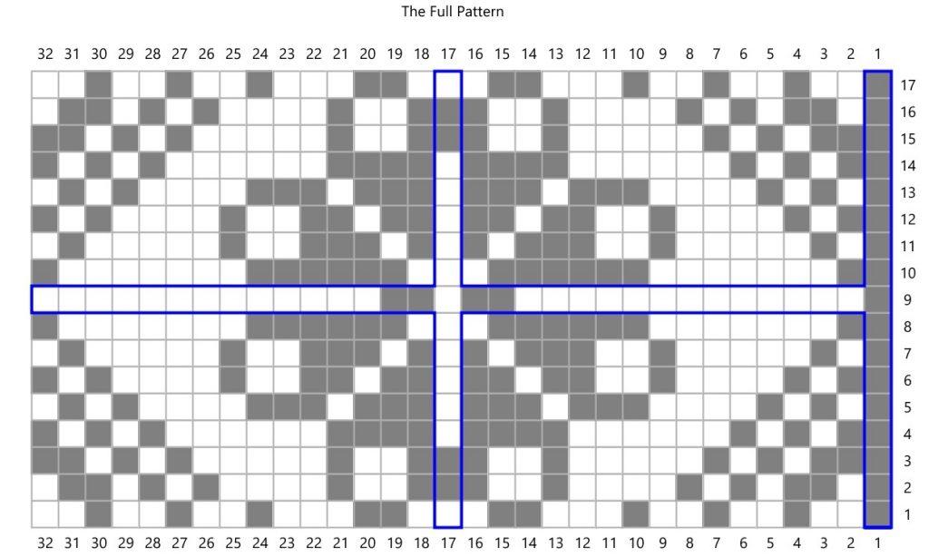A knitting chart with a flower motif