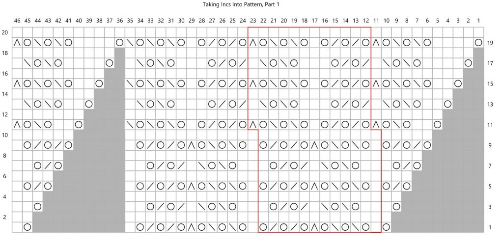 A heavily patterned knitting chart
