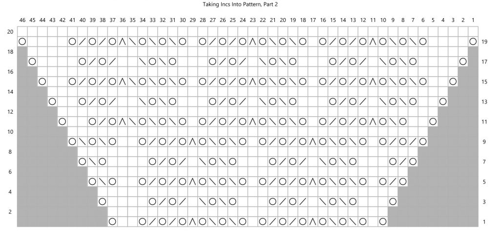 A heavily patterned knitting chart