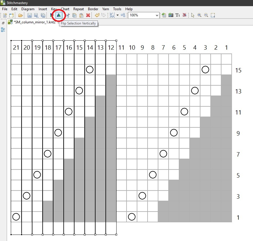 Screengrab of Stitchmastery showing some columns highlighted and one of the icons circled in red