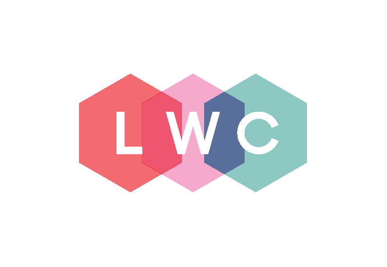 Graphic - the Light Work Collective logo - 3 initials on overlapping hexagons in red, pink and mint green.