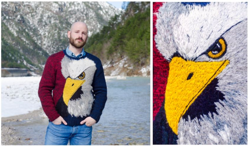 Collage of two photos - first one shows a man wearing a jumper with a large embriodered eagle head, and the second photo is a close up of the eagle's face. The man is standing outdoors near some mountains
