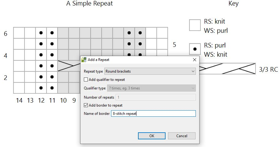 screengrab of Stitchmastery software with a dialog box about adding a border to a knitting chart